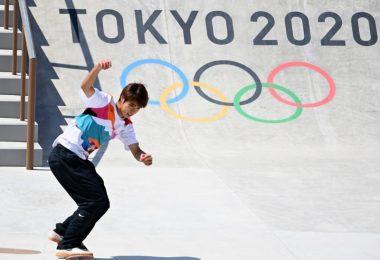 Der Japaner Yuto Horigome gewann die Skateboard-Premiere. Foto: Marijan Murat/dpa
