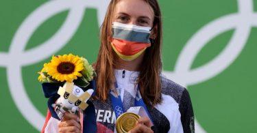 Holte die erste deutsche Goldmedaille in Tokio: Ricarda Funk. Foto: Jan Woitas/dpa