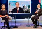 Die Kanzlerkandidaten von Union und SPD, Armin Laschet und Olaf Scholz neben der Mitbewerberin von den Grünen Annalena Baerbock. Foto: Oliver Ziebe/WDR/dpa