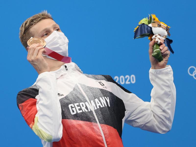 Holte Bronze über 1500 Meter Freistil: FlorianWellbrock. Foto: Oliver Weiken/dpa