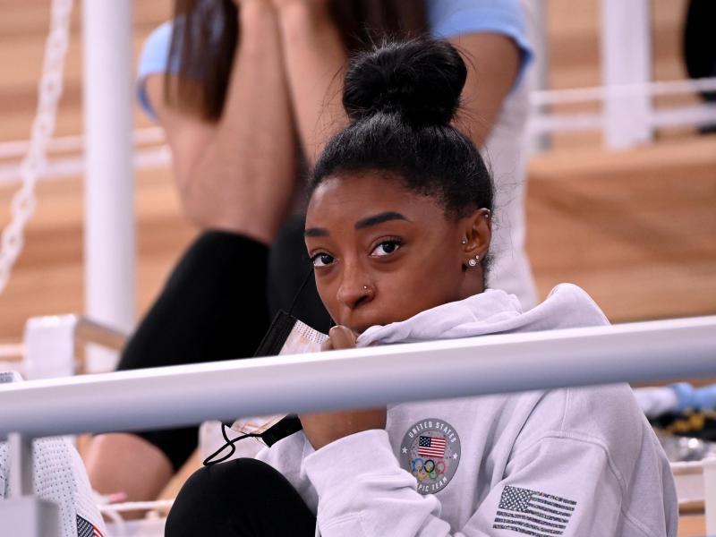 Bleibt bei Olympia in Tokio weiter in der Zuschauerrolle: US-Turnstar Simone Biles. Foto: Marijan Murat/dpa