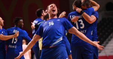 Frankreichs Handballer sicherten sich gegen Dänemark die Goldmedaille. Foto: Marijan Murat/dpa