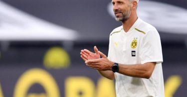 Dortmund-Coach Marco Rose ist guter Dinge, seinen Profis ein großes Defizit austreiben zu können. Foto: Marius Becker/dpa