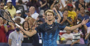 Alexander Zverev hat beim Masters in Cincinnati, das Finale erreicht. Foto: Darron Cummings/AP/dpa