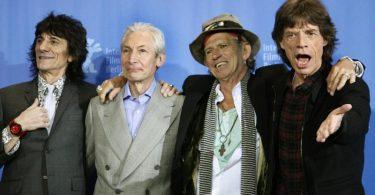 Die Rolling Stones - Ron Wood (l-r), Charlie Watts, Keith Richards und Mick Jagger - auf der Berlinale 2008. Foto: Rainer Jensen/dpa