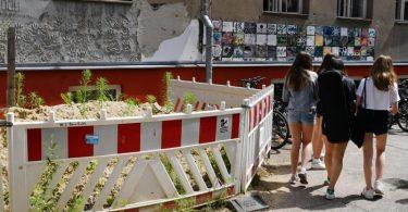 Absperrungen vor einer maroden Wand an einer Berliner Schule. Foto: Jens Kalaene/dpa-Zentralbild/dpa