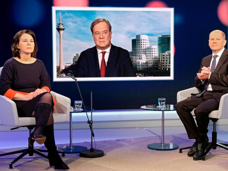 Annalena Baerbock, Armin Laschet und Olaf Scholz: Einer von ihnen wird bald auf Angela Merkel folgen. Foto: Oliver Ziebe/WDR/dpa