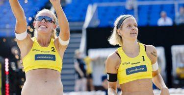 Laura Ludwig und ihre Interimspartnerin Leonie Körtzinger sind mit einem klaren Sieg in die DM gestartet. Foto: Frank Molter/dpa