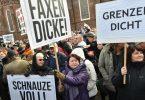 «Grenzen dicht», «Schnauze voll» und «Faxen dicke»: Menschen in Deutschland demonstrieren gegen die Aufnahme von Flüchtlingen. Foto: Bernd Settnik/dpa-Zentralbild/dpa