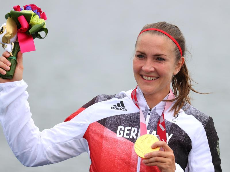 Gewann in Tokio Gold im Kanu-Sprint: Edina Müller. Foto: Karl-Josef Hildenbrand/dpa