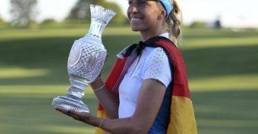 Sophia Popov verlor zwar ihr Einzel, aber gewann mit dem europäischen Team den Solheim Cup. Foto: David Dermer/FR171035 AP/dpa