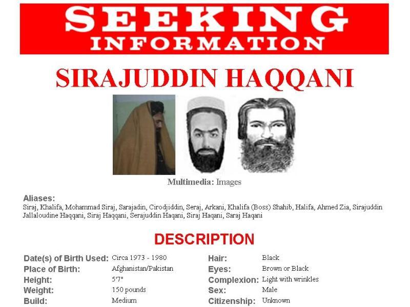 Der Steckbrief von Siradschuddin Hakkani auf der Homepage der amerikanischen Bundespolizei FBI unter der Rubrik «Most Wanted Terrorists». Foto: FBI.gov/dpa