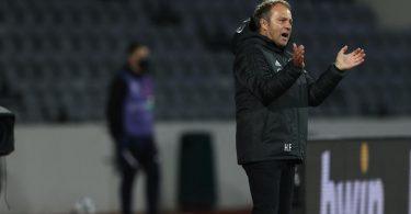 Bundestrainer Hansi Flick trieb seine Mannschaft in Island an. Foto: Christian Charisius/dpa