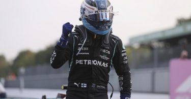 Startet von Platz eins in den Monza-Sprint: Mercedes-Pilot Valtteri Bottas. Foto: Lars Baron/POOL GETTY/AP/dpa