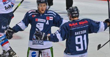 Die Straubing Tigers besiegten am ersten DEL-Spieltag den großen Favoriten Adler Mannheim. Foto: Armin Weigel/dpa