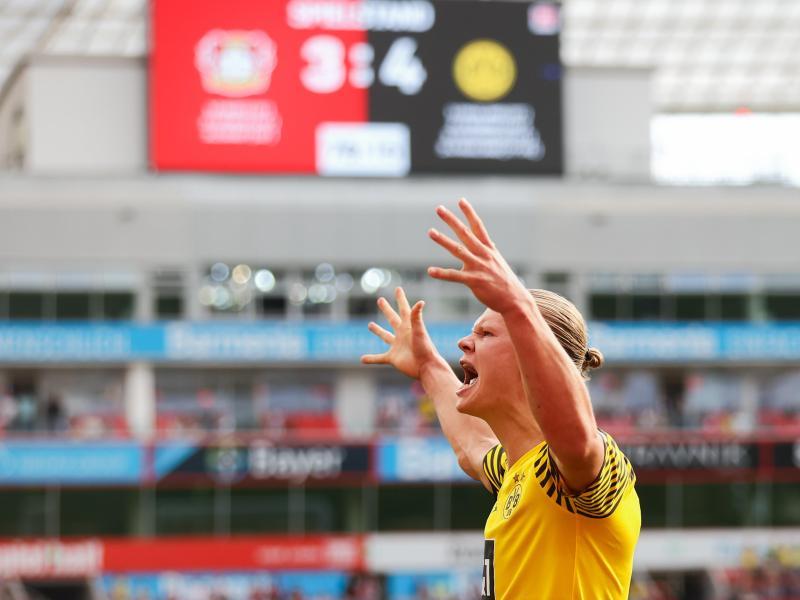 Erling Haaland schoss den BVB mit einem Doppelpack zum Sieg. Foto: Rolf Vennenbernd/dpa