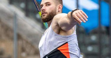 Speerwerfer Johannes Vetter beim Wettkampf im Berliner Olympiastadion. Foto: Andreas Gora/dpa