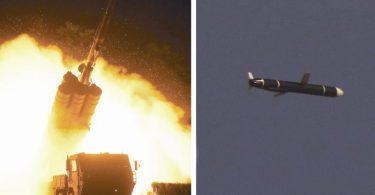Dieses von Nordkoreas offizieller Zentraler Nachrichtenagentur (KCNA) veröffentlichte Foto zeigt einen Langstrecken-Marschflugkörper, der von einer Abschussrampe abgefeuert wird. Foto: KCNA/Yonhap/dpa