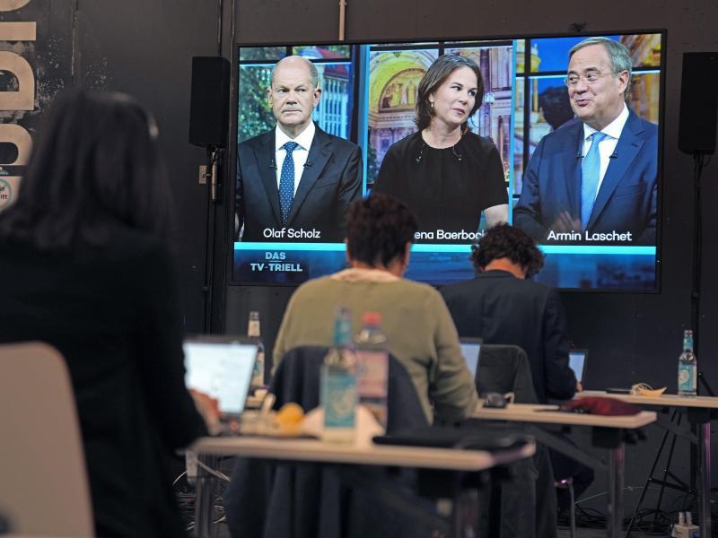 Kanzlerkandidaten: Olaf Scholz (l-r), Annalena Baerbock und Armin Laschet. Foto: Kay Nietfeld/dpa