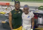 Die Brüder Equanimeous (l) und Amon-Ra St. Brown nach dem NFL-Spiel der Green Bay Packers gegen die Detroit Lions. Foto: -/Miriam Brown/dpa