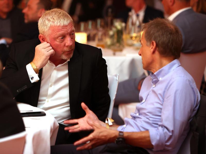 Auch Ex-Tennisprofi Boris Becker (l) war dabei. Foto: Alexander Hassenstein/DFB via Getty Images Europe/dpa
