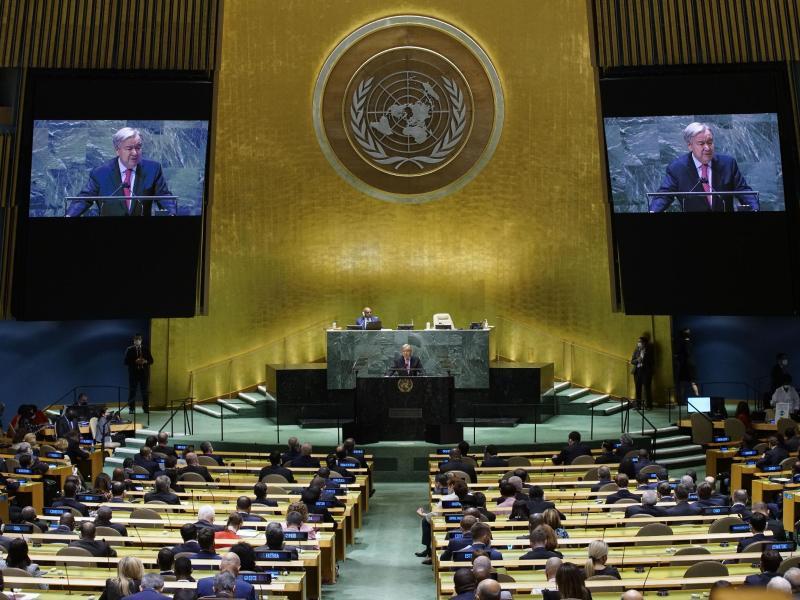 António Guterres, Generalsekretär der Vereinten Nationen, spricht während der 76. Generaldebatte der UN-Vollversammlung. Foto: Eaeduardo Munoz/Pool Reuters/AP/dpa