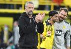 Dortmunds Trainer Marco Rose gibt sich vor der Partie in Mönchengladbach gelassen. Foto: Bernd Thissen/dpa