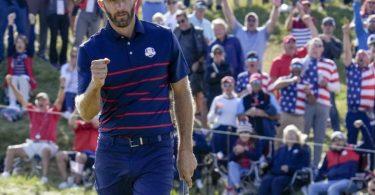 US-Star Dustin Johnson spielte am ersten Tag des Ryder Cups ganz starkes Golf. Foto: Ashley Landis/AP/dpa