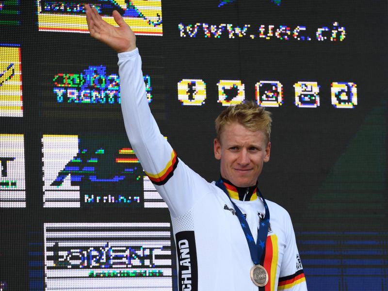 Pascal Ackermann geht als zweite Option im deutschen Team ins WM-Straßenrennen in Flandern. Foto: Damien Meyer/AFP/dpa