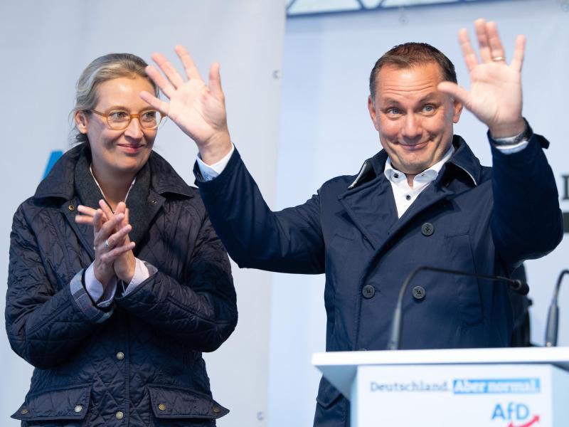 Alice Weidel und Tino Chrupalla, AfD-Spitzenkandidaten für die Bundestagswahl. Foto: Sebastian Kahnert/dpa/Archivbild