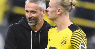 Dortmunds Trainer Marco Rose bangt um den Einsatz von Stürmer Erling Haaland. Foto: Bernd Thissen/dpa