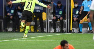 Donyell Malen bescherte Borussia Dortmund den Sieg gegen Sporting Lissabon. Foto: Bernd Thissen/dpa