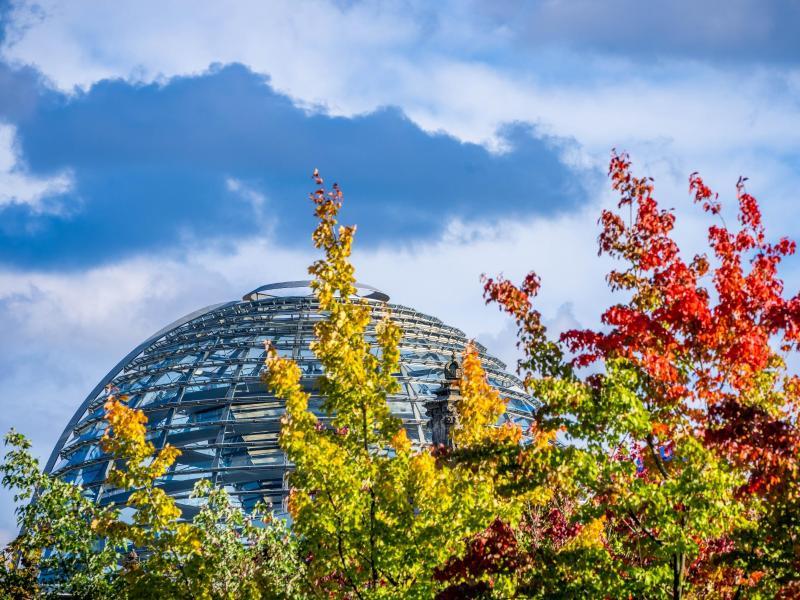 Die Kuppel auf dem Deutschen Bundestag hinter bunt gefärbten Laubbäumen. In den kommenden Tagen finden zahlreiche Gespräche über die Bildung der künftigen Regierung statt. Foto: Michael Kappeler/dpa