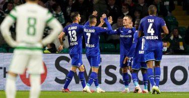Bayer Leverkusen feierte bei Celtic Glasgow einen deutlichen Auswärtssieg. Foto: Andrew Milligan/PA Wire/dpa