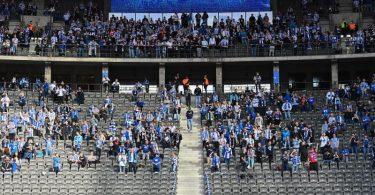 Wie bei Hertha BSC können die Kontingente zugelassener Zuschauer in den Stadien der Bundesliga meist nicht voll genutzt werden. Foto: Soeren Stache/dpa-Zentralbild/dpa