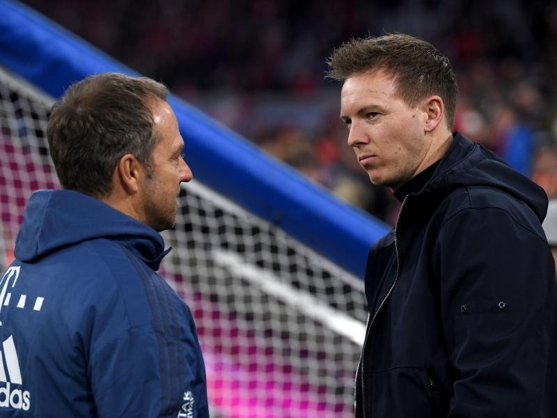 Julian Nagelsmann (r) folgte Hansi Flick beim FC Bayern München als Trainer. Foto: Matthias Balk/dpa