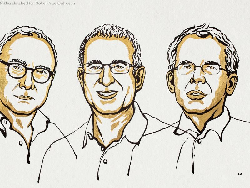Die Illustration zeigt David Card (v.l.n.r.), Jousha Angrist und Guido Imbens. Foto: Niklas Elmehed/Nobel Prize Outreach 2021 /dpa