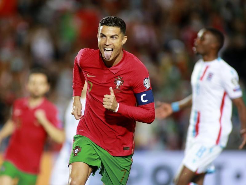 Portugals Cristiano Ronaldo jubelt über sein Tor zum 2:0. Foto: Joao Matos/AP/dpa