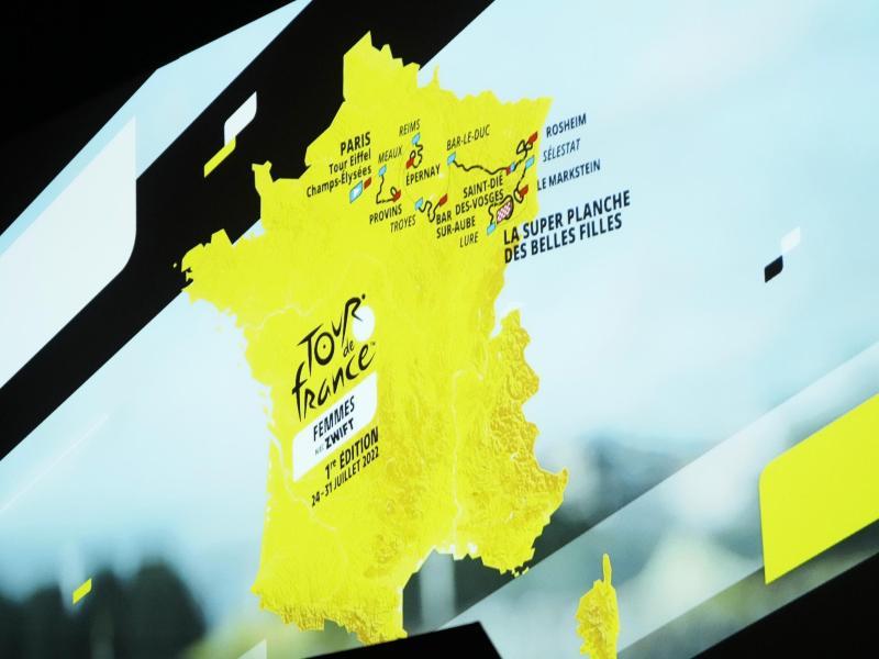 Start in Kopenhagen, Finale in Paris: Der Streckenplan der Tour de France 2022 steht fest. Foto: Thibault Camus/AP/dpa