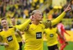 BVB-Stürmer Erling Haaland jubelt über seinen Treffer zum 2:0 gegen den FSVMainz 05. Foto: Bernd Thissen/dpa