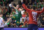 Magdeburgs Lukas Mertens (M) steigt gegen Flensburgs Torwart Kevin Moeller zum Sprungwurf hoch. Foto: Ronny Hartmann/dpa