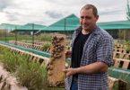 Schneckenzüchter Michael Mayer inmitten seiner Schneckenzucht. In Frankreich gelten Schnecken als Delikatesse. Zucht und Aufbereitung des Fleischs sind aufwendig. Foto: Philipp von Ditfurth/dpa