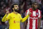 Mohamed Salah (l) sorgte fürLiverpools Siegtreffer bei Atlético Madrid. Foto: Manu Fernandez/AP/dpa