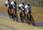 Franziska Brauße, Lisa Brennauer, Mieke Kröger und Laura Süßemilch fuhren in Roubaix zu Gold. Foto: Francois Lo Presti/AFP/dpa