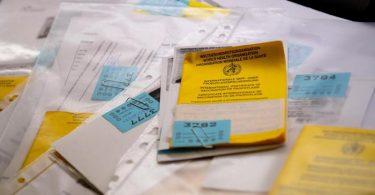 Zahlreiche Impfpässe liegen in einer Apotheke in einem Büro auf einem Tisch. (Archivbild). Foto: Sven Hoppe/dpa
