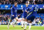 Der FC Chelsea um Torschütze Mason Mount, Kai Havertz und Reece James (l-r) feierte einen Galasieg. Foto: Tess Derry/PA Wire/dpa