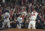 Die Atlanta Braves bezwangen den Titelverteidiger Los Angeles Dodgers und komplettieren das Finale der nordamerikanischen MLB. Foto: Brynn Anderson/AP/dpa
